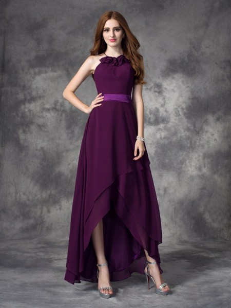 A-line/Princess Halter Ruffles High Low Chiffon Bridesmaid Dress