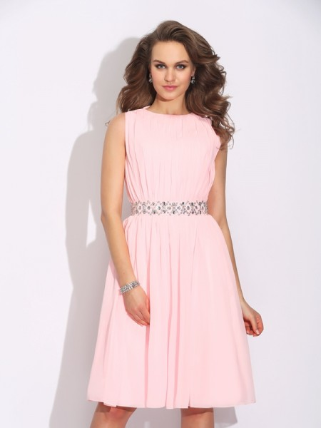 A-Line/Princess Jewel Ruffles Short Chiffon Dress
