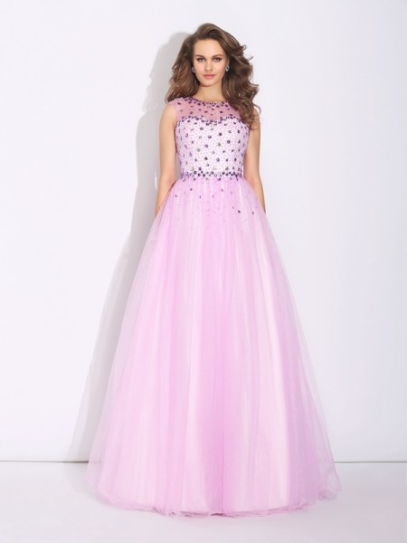 A-Line/Princess Jewel Rhinestone Long Net Dress