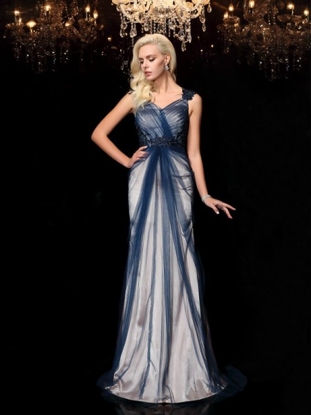 Sheath/Column Straps Applique Elastic Woven Satin Dress