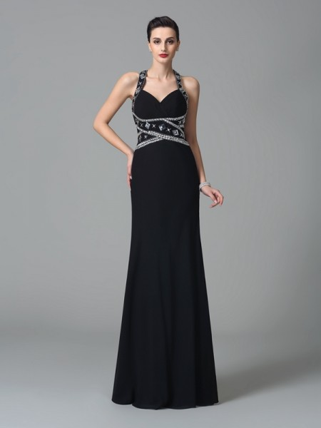 Sheath/Column Straps Beading Chiffon Dress