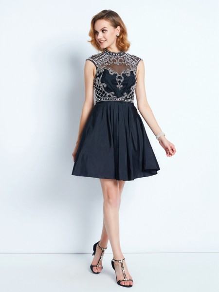 A-Line/Princess High Neck Short/Mini Satin Dress