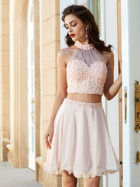 A-Line/Princess Halter Chiffon Short/Mini Two Piece Dress