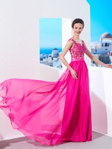 A-Line/Princess Sheer Neck Sweep/Brush Train Applique Chiffon Dress