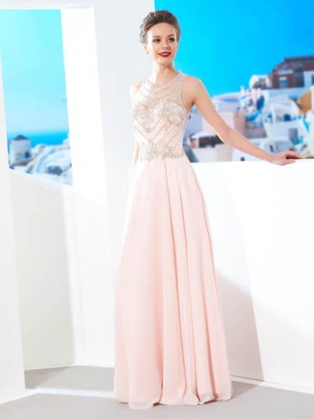 A-Line/Princess Scoop Chiffon Crystal Floor-length Dress