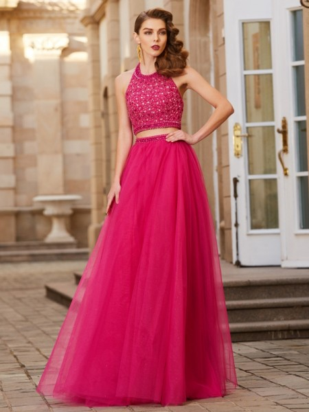 A-Line/Princess Halter Tulle Floor-Length Two Piece Dress