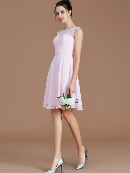 A-Line/Princess Bateau Lace Short/Mini Chiffon Bridesmaid Dress