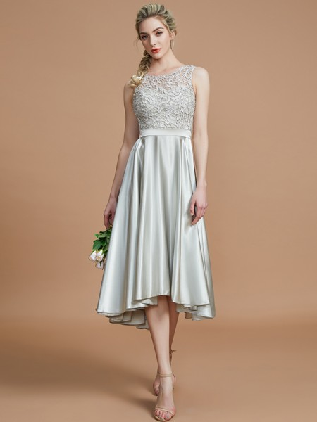 A-Line/Princess Bateau Ruffles Asymmetrical Silk like Satin Bridesmaid Dress