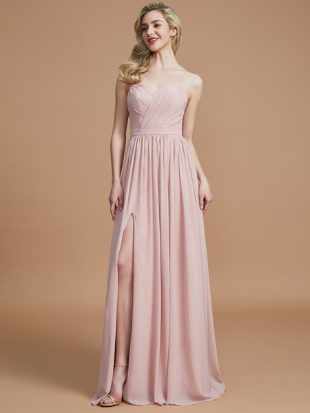 A-Line/Princess Spaghetti Straps Ruched Floor-Length Chiffon Bridesmaid Dress