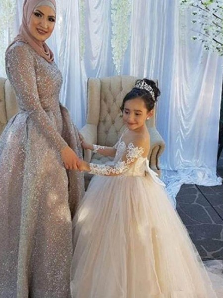 Ball Gown Long Sleeves Off-the-Shoulder Sweep/Brush Train Tulle Flower Girl Dress