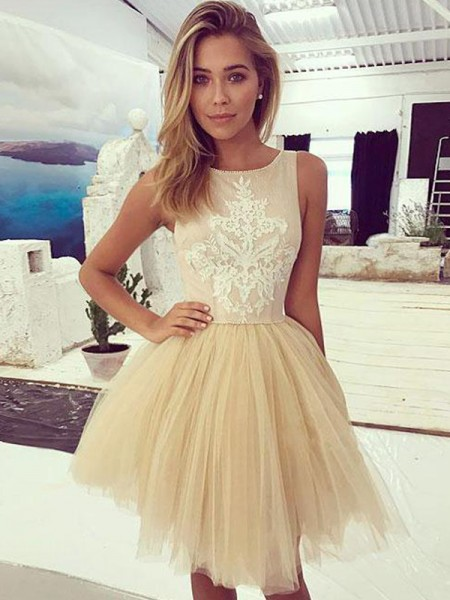 A-Line/Princess Sleeveless Bateau Tulle Short/Mini Dress