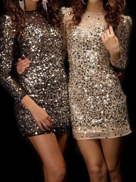 Sheath/Column Long Sleeves Bateau Sequin Short/Mini Dress