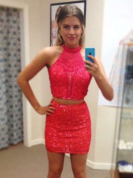 Sheath/Column Sleeveless Halter Sequin Short/Mini Two Piece Dress