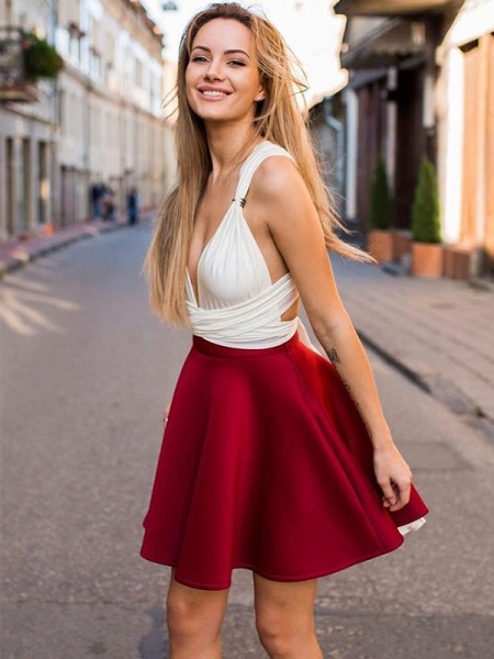 A-Line/Princess V-neck Sleeveless Satin Short/Mini Dress