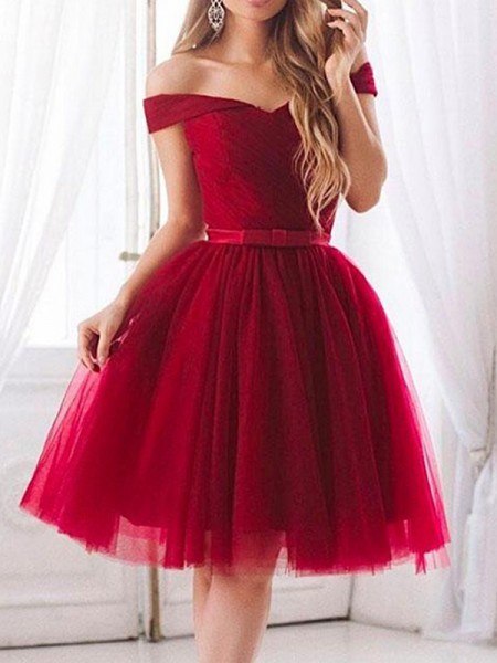 A-Line/Princess Tulle Sleeveless Knee-Length Dress