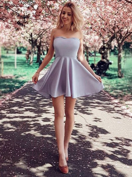 A-Line/Princess Strapless Satin Sleeveless Short/Mini Dress