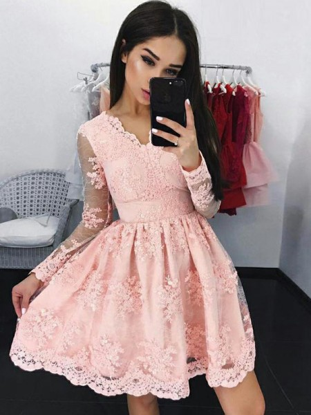 A-Line Lace Long Sleeves With V-neck Short/Mini Dress