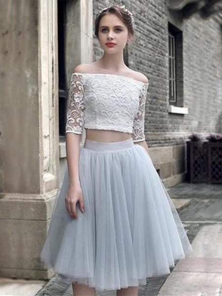A-Line Tulle With Ruched 1/2 Sleeves Knee-Length Two Piece Dress