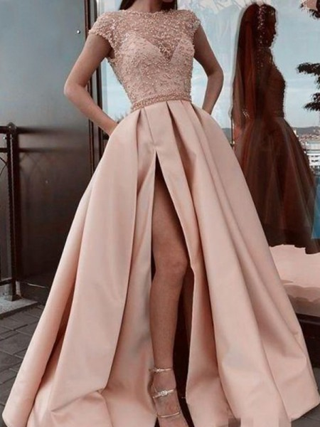 A-Line/Princess Scoop Neck Satin Beading Short Sleeves Long Dresses