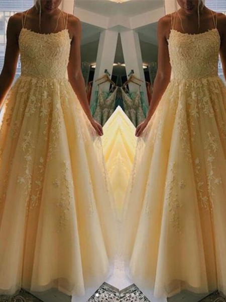 A-Line/Princess Spaghetti Straps Sleeveless Tulle Applique Long Dresses