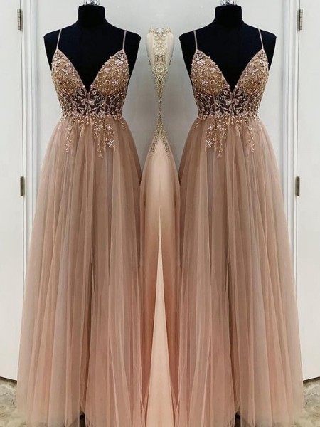 A-Line/Princess Spaghetti Straps Beading Tulle Sleeveless Long Dresses
