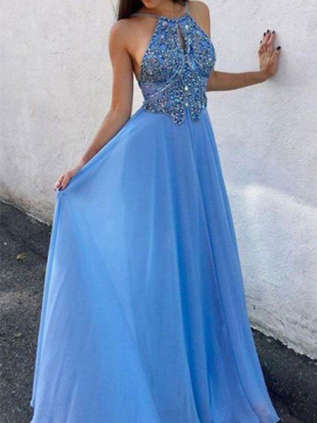 A-Line/Princess Halter Sleeveless Chiffon Beading Floor-Length Dresses