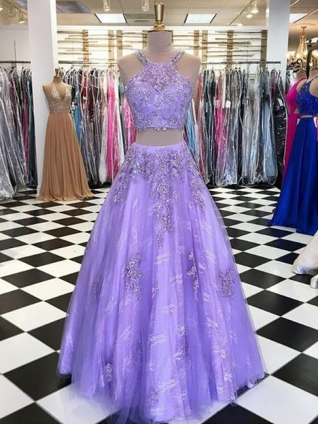 A-Line/Princess Halter Sleeveless Tulle Beading Long Two Piece Dresses
