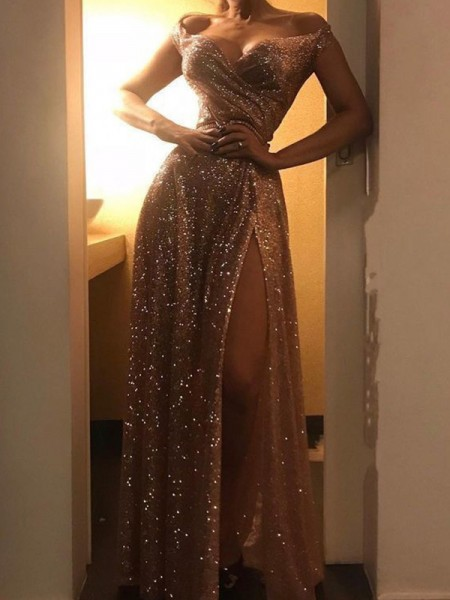 A-Line/Princess Off-the-Shoulder Sequins Ruched Sleeveless Long Dresses
