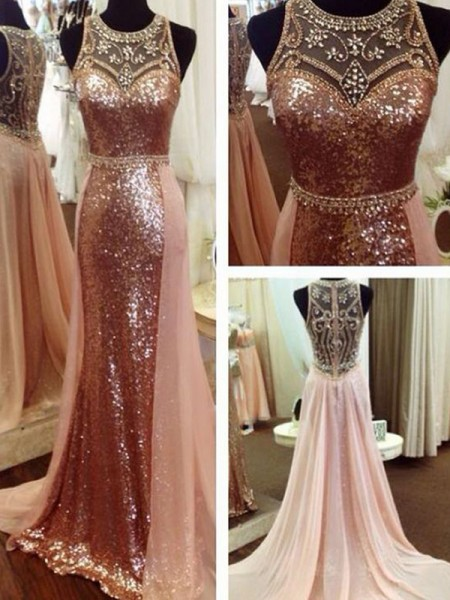 A-Line/Princess Scoop Sleeveless Beading Sequins Long Dresses
