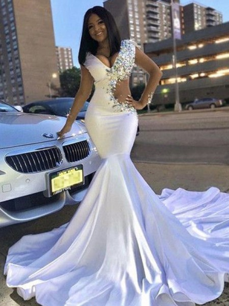 Mermaid Satin Beading V-neck Sleeveless Court Train Dresses