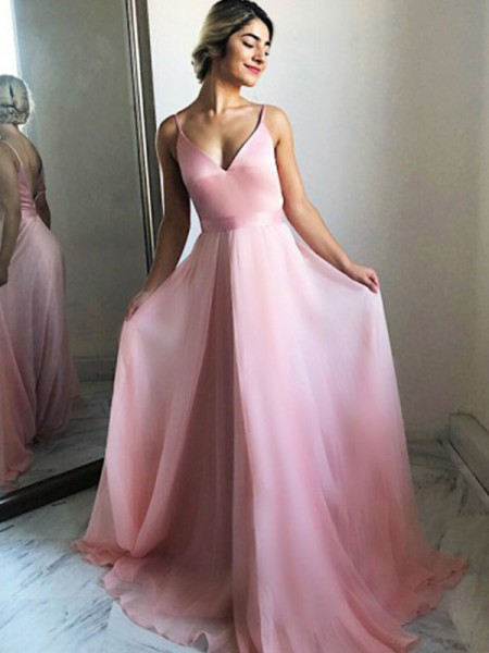 A-Line/Princess Spaghetti Straps Chiffon Ruffles Sleeveless Long Dresses