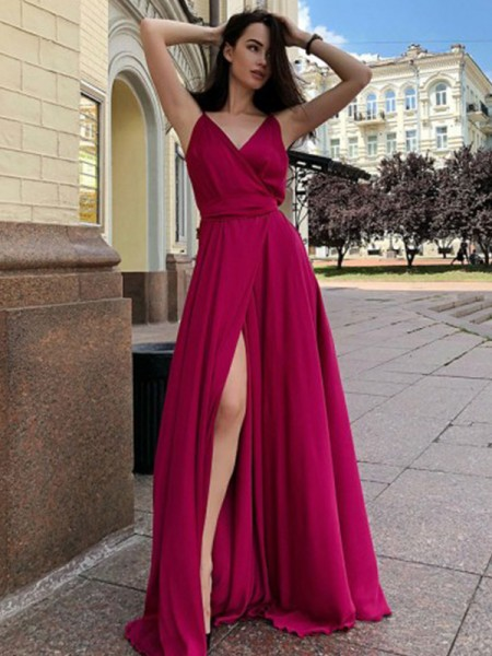 A-Line/Princess Satin Chiffon Spaghetti Straps Ruffles Sleeveless Long Dresses