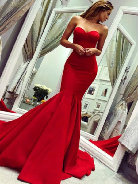 Mermaid Ruffles Strapless Court Train Satin Sleeveless Dresses