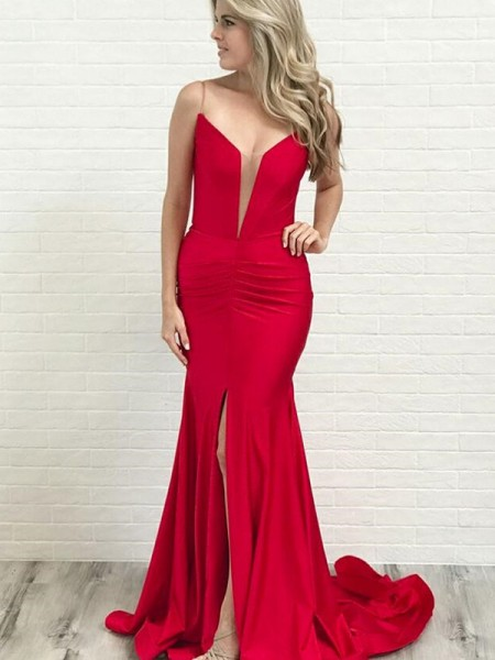 A-Line/Princess Spaghetti Straps Court Train Ruched Satin Sleeveless Dresses