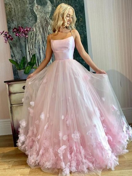 A-Line/Princess Bateau Tulle Sleeveless Applique Floor-Length Dresses