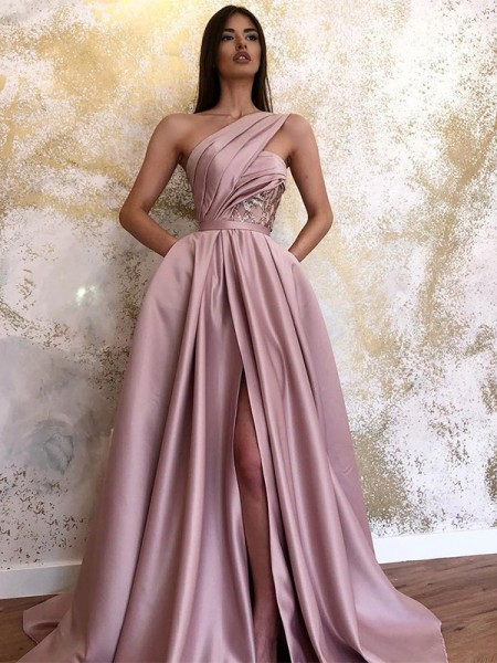 A-Line/Princess Satin One-Shoulder Sleeveless Ruched Long Dresses