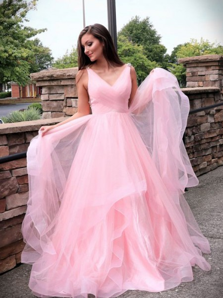 A-Line/Princess V-neck Tulle Ruched Sleeveless Sweep/Brush Train Dresses