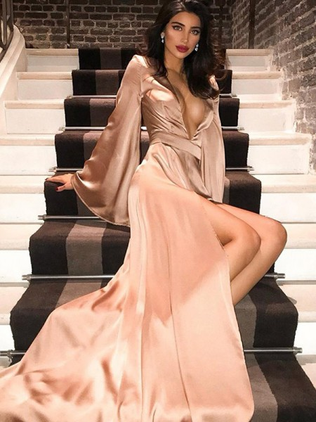 A-Line/Princess V-neck Silk like Satin Long Sleeves Ruched Long Dresses