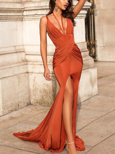 Mermaid Ruched Sleeveless Satin V-neck Sweep/Brush Train Dresses