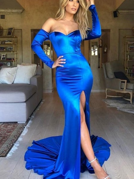 Mermaid Ruched Elastic Woven Satin V-neck Long Sleeves Court Train Dresses