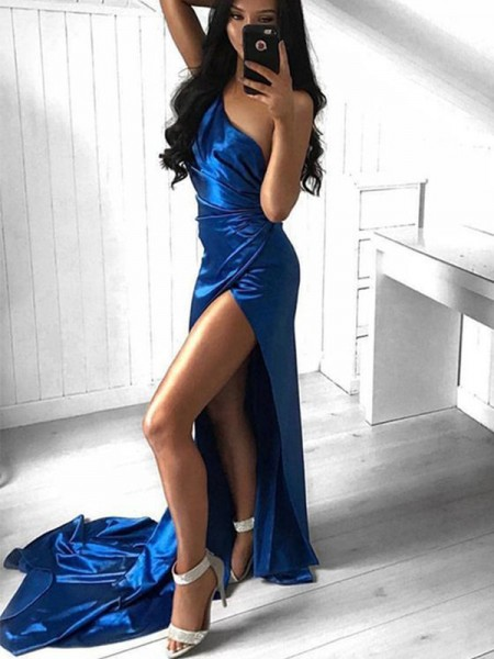 Sheath/Column One-Shoulder Court Train Ruched Satin Sleeveless Dresses