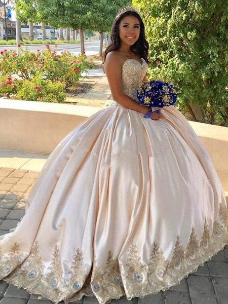 Ball Gown Sweetheart Sweep/Brush Train Beading Satin Sleeveless Dresses