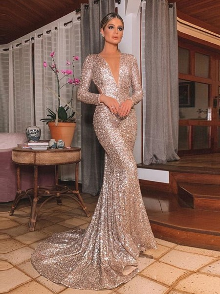Mermaid Sequins Long Sleeves V-neck Ruffles Sweep/Brush Train Dresses