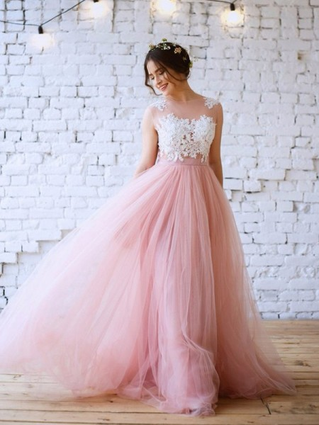 A-Line/Princess Applique Bateau Sleeveless Tulle Long Dresses