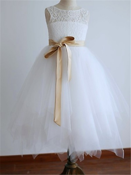 A-line/Princess Sleeveless Scoop Tea-Length Tulle Flower Girl Dresses
