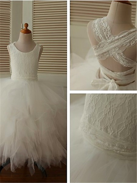 Ball Gown Sleeveless Scoop Lace Ankle-Length Organza Flower Girl Dresses