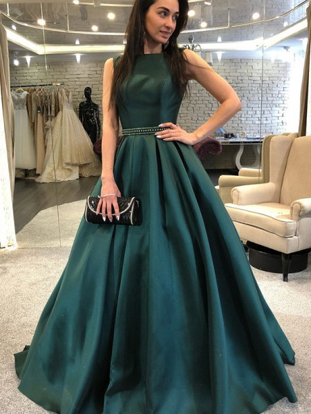 A-Line/Princess Sleeveless Sweep/Brush Train Beading Satin Dresses