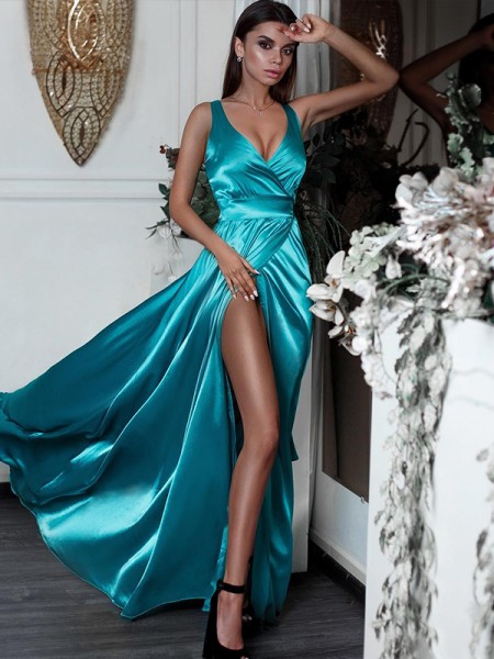 A-Line/Princess Sleeveless Ruffles V-neck Sweep/Brush Train Satin Dresses