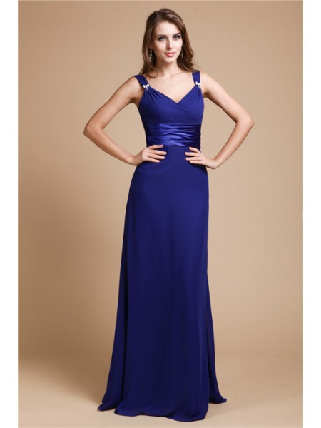 Sheath/Column V-neck Ruffles Chiffon Bridesmaid Dress
