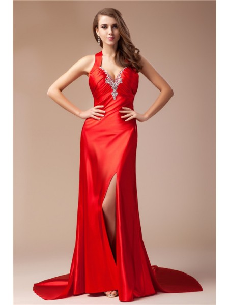 Sheath/Column V-neck Long Elastic Woven Satin Dress